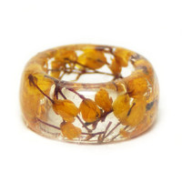Orange Ring- Resin Ring- Orange Flower Ring-Flower Resin Ring-Resin Jewelry-Real Orange Flower Ring Jewelry-Orange Jewelry