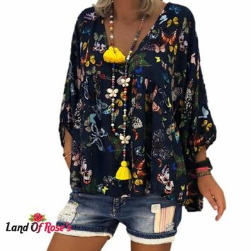 Plus-Size Casual Sleeveless Irregular Butterfly Print T Shirt Loose Top