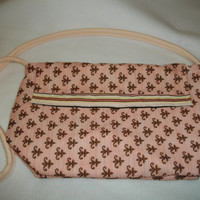 Sale - Cross Body Bag - Pink and Brown Lined Reversible Quilted Fabric Purse