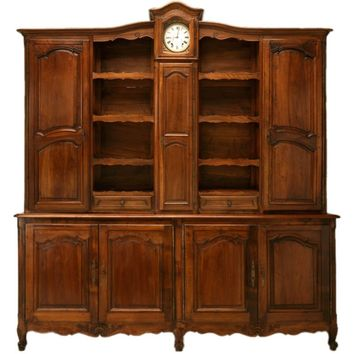 Antique French Walnut Louis XV Vaisselier with Clock, circa 1820