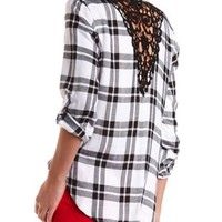Crochet-Back Plaid Button-Up Top by Charlotte Russe
