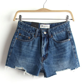Summer Rinsed Denim High Waist Slim Denim Shorts [6332310788]