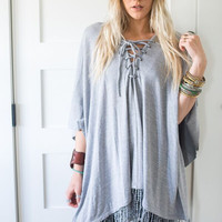 Fringe Trim Lace Up Poncho