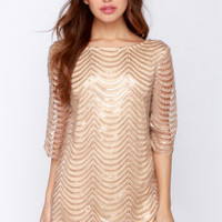 Under the Affluence Beige Sequin Dress