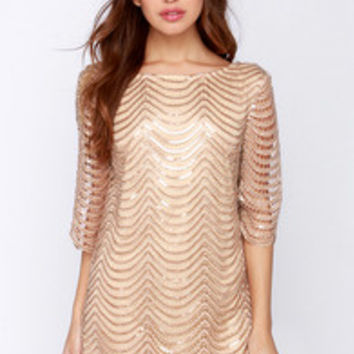 Under the Affluence Beige Sequin Dress from Lulu*s