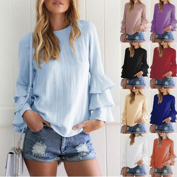 Women Ruffles Long Sleeve Chiffon Shirt Solid Color Casual Loose Fashion Tops Blouse