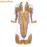 Newly Design Women Summer Casual Deep V-Neck Traditional African Dashiki Print Knee Dress 160504 Drop Shipping