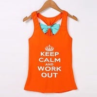 Women's Size Small Orange Keep Calm And Work Out Bow Tank Top