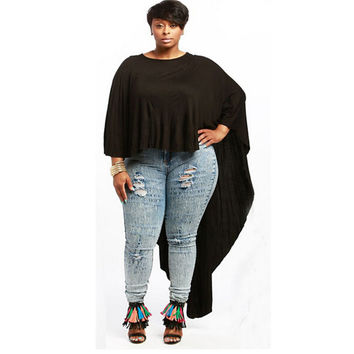 Black Batwing Sleeve Loose Long Back Top