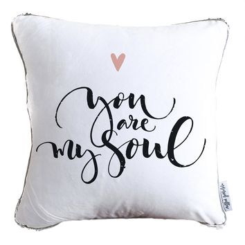 You Are My Soul Hand Drawn Typography Decorative Throw Pillow w/ Silver & White Reversible Sequins | COVER ONLY (Inserts Sold Separately)