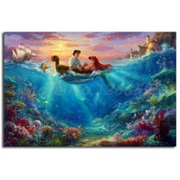 The Little Mermaid Falling in Love Thomas Kinkade HD Painting Wall Art Painting Living Room Decorative Picture Home Decoration