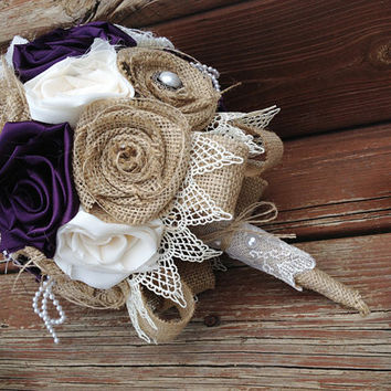 Plum Burlap Bouquet, Wedding Burlap Bouquet, Burlap Bouquet, Rustic Burlap Bouquet, Burlap, Wedding, Bride, Bridesmaid, Plum Wedding Bouquet