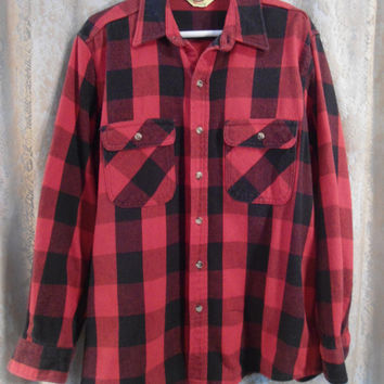 Mens Large Red and Black Flannel Thick Dress Shirt Lumberjack Flannel Flap Pockets 2 Pockets Buttoned Vintage Flannel Jacket Buffalo Grunge