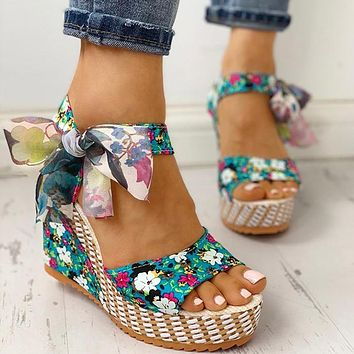 MCCKLE Women Summer Wedge Sandals Female Floral Bowknot Platform High Heel  Fashion Bohemian Ankle Strap Open Toe Ladies Shoes