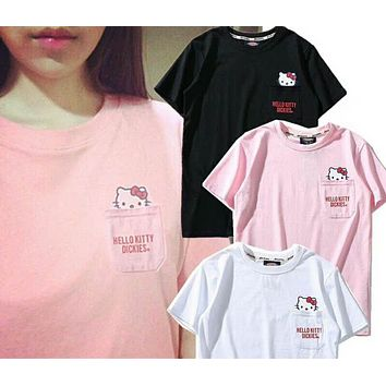 Dickies X Hello Kitty Popular Women Men Leisure Lovely Print Pocket Half Sleeve Round Collar T-Shirt Top(3-Color) I-Great Me Store
