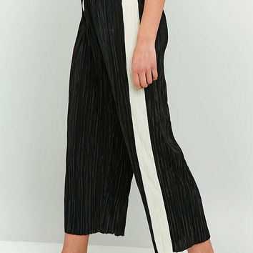 Light Before Dark Awkward Length Side Stripe Plisse Trousers - Urban Outfitters