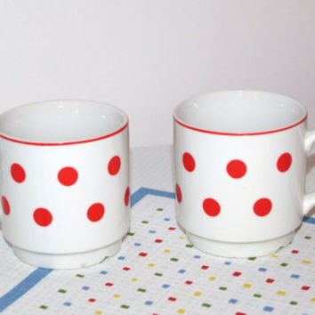 2 Cute Vintage polka dot  teacup/ coffee cup/mug/saucer Czechoslovakia polkadot ceramic dotted white red Soviet era (1970s) Bohemian pottery