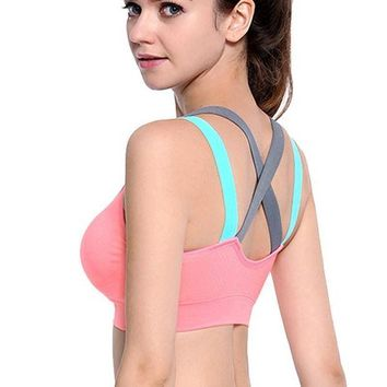 LMFGC3 VEQKING Cross Strap Back Women Sports Bra,Professional Quick Dry Padded Shockproof Gym Fitness Running Yoga Sport Brassiere Tops