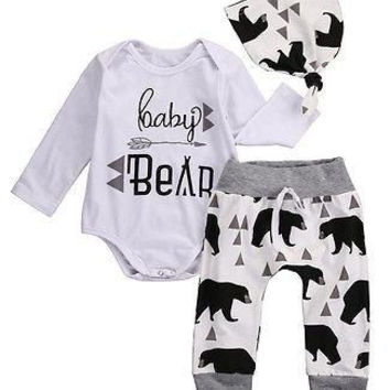 ( Baby Bear ) 3 Piece Set. Onesuit/Romper Pants and Hat