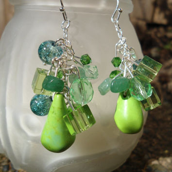 Fresh Greens: Peridot Earrings, Green Earrings, Czech Glass Earrings, Jade Earrings, Boho Earrings, Magnesite, Jade