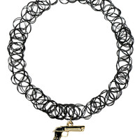 GUN CHARM TATTOO CHOKER NECKLACE