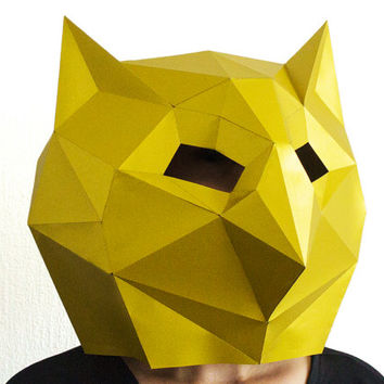 Make your own Space-Owl Mask, Animal Head,Instant Pdf download, DIY Halloween Paper Mask, Printable Templates, 3D Pattern, Polygon Masks