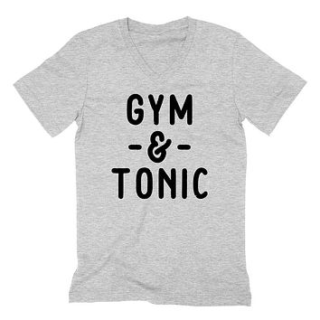 Gym and Tonic, Funny Workout fitness, yoga, gym, muscle, crossfit graphic  V Neck T Shirt