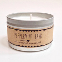 PEPPERMINT BARK. 8 oz Candle. Hand Poured Soy Candle. Natural Candle. Eco Friendly. Fall Candle. Winter Candle. Sale. Clearance. Discount.