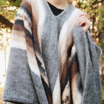 luxury Peruvian Alpaca Poncho Stripe V Neck
