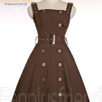 Gothic Steampunk Shirring Back Lacing up Corset Back Dress/JSK