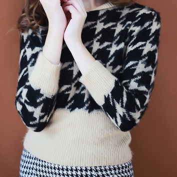 Color Block Houndstooth Pattern Sweater