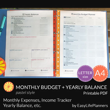 MONTHLY BUDGET PLANNER kit. A4 and Letter Size. Yearly Expenses, Income, Debt, Savings Tracker. Printable pdf. Instant Download. 2 documents