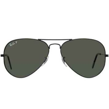 Gaffos Inc: Ray Ban RB3025 Large Aviator 002/58 Black Metal Sunglasses Polarized Green Lens - Gaffos Inc