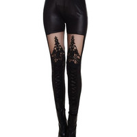 Fashionable Stretchy Mesh Splicing Black Leggings For Women