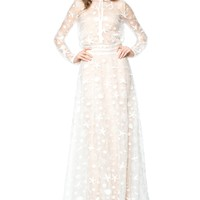 STARFISH EMBROIDERED TULLE LONG SLEEVE GOWN