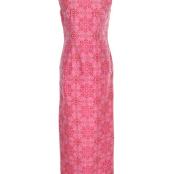 60s Pink, Red & White Floral Mosaic Patterned Sleeveless Dress | Dresses | Rokit Vintage Clothing