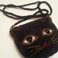 "Vintage Kitty Cat Coin Purse, Beaded Black Cat, Solid Beaded 1980s, 19"" Strap 4 1/2"" x 4"" Purse, Zipper Closure"