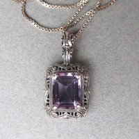 Vintage Art Deco Design Sterling Silver Filigree Amethyst Pendant Necklace