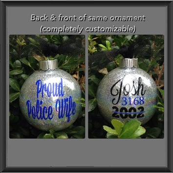 Police Wife Ornament, Police Ornament, Blue Line, Glass Ornament