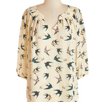 ModCloth Critters Mid-length 3 Stylish on the Subway Top in Birds