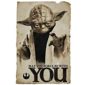 "Star Wars Yoda ""MAY THE FORCE BE WITH YOU"" Print Poster 27x40cm Wall Poster"
