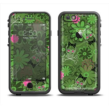 The Green Retro Floral and Skulls Apple iPhone 6/6s Plus LifeProof Fre Case Skin Set