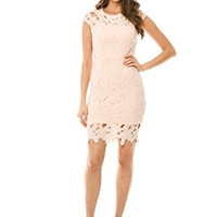 Pink Capped Crochet Short Sleeve Zip Back Dress