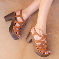 Rashida Wedge Heels - Tan