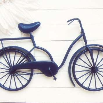 Gift Ideas / Metal Bike Art / Beach Decor / Bike Decoration / Metal Wall Art / Bicycle Art / Customize Color / Blue Home Decor / Beach Bike