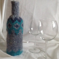 wine bottle covers, Icelandic wool , handmade, knitted, gift idea, sweater, traditional, decoration, housewarming gift, wine bottle decor