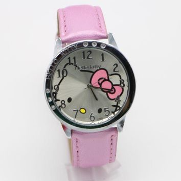 Top brand leather lady girl gift cartoon watch hellokitty fashion hello kitty watches Wristwatch Relogio Feminino