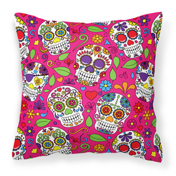 Day of the Dead Pink Fabric Decorative Pillow BB5115PW1818