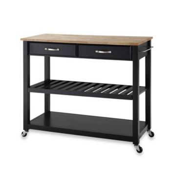 Crosley Natural Wood Top Kitchen Cart/Island With Removable Shelf