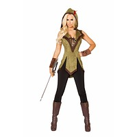 Roma Halloween Costume Adult Women  Hooded Outlaw Green/Brown - Large